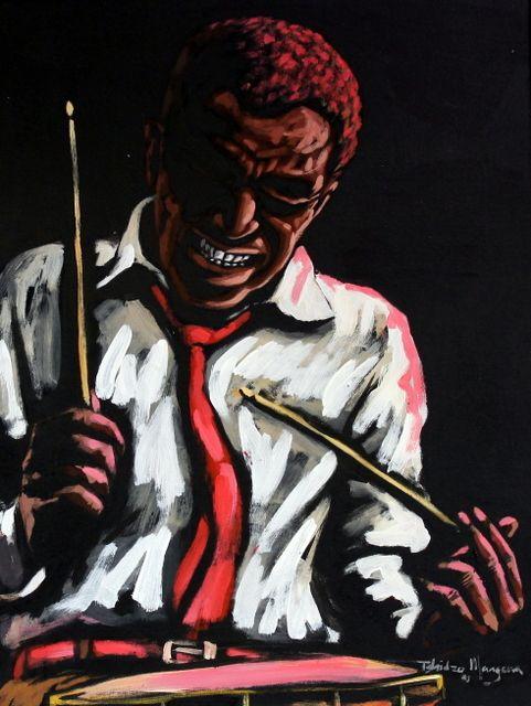The Drummer by Tshidzo Mangena, Acrylic on canvas. https://www.facebook.com/akwaabaafricanart