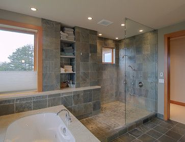 Warm Woods - contemporary - bathroom - portland - J.A. Hand Construction, Inc.. I would use different colors, but I love the layout of this bath/shower combo.
