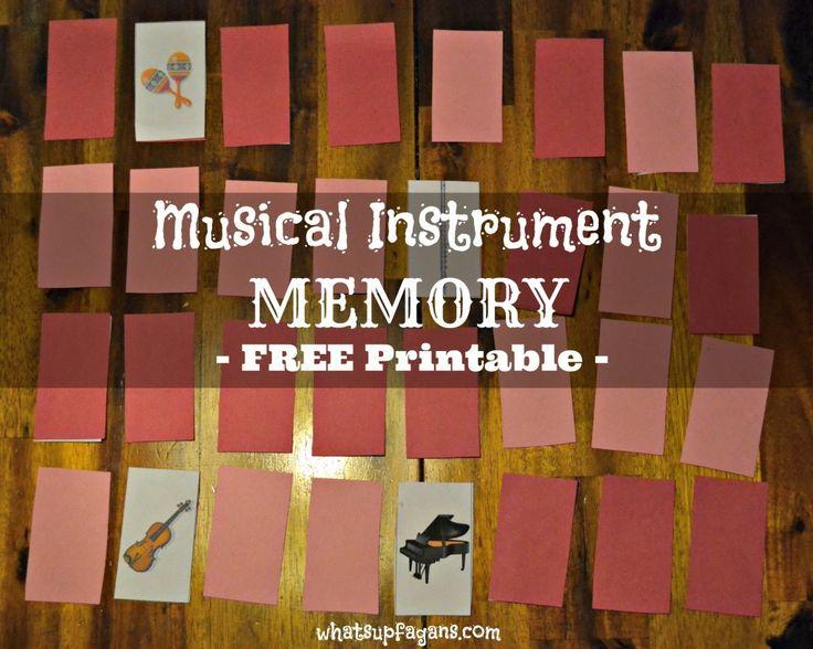 Musical Instrument Memory Game - Free Printable. whatsupfagans.com