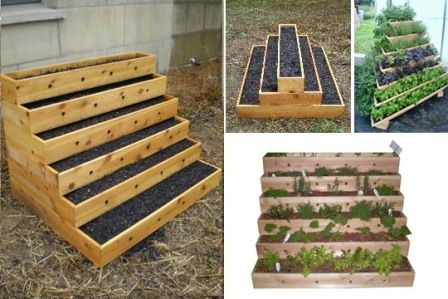 Use for recycled pallets?Gardens Beds, Gardens Ideas, Gardens Boxes, Spaces Saving, Tiered Planters, Vegetables Gardens, Herbs Gardens, Small Spaces, Planters Boxes