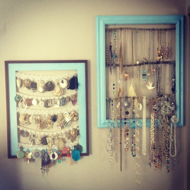Cool idea for hanging jewelry in a dorm room