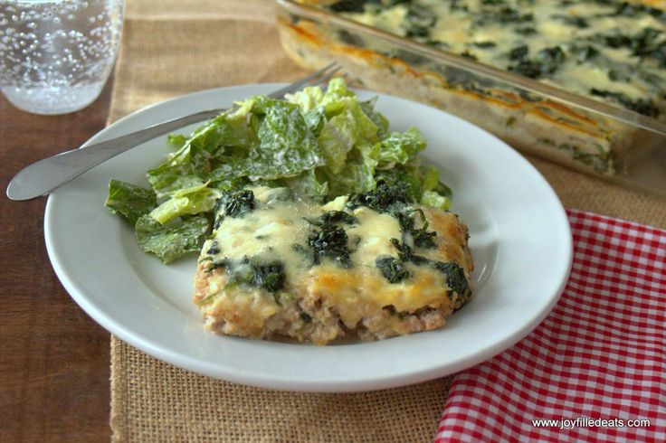 This is inspired by the Lazy Lasagna in the Trim Healthy Mama Cookbook. It uses spinach instead of noodles and is low carb, grain & gluten free, & THM S.