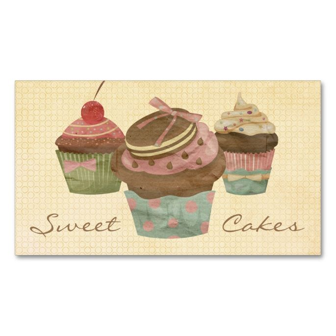 1042 best cupcake business cards images on pinterest business card retro three cupcake bakery double sided standard business cards pack of this great business card design is available for customization reheart Choice Image