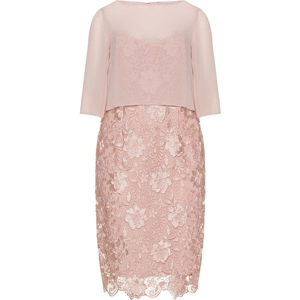 Gina Bacconi Pink Plus Size Lace and chiffon cocktail dress (1040 TND) ❤ liked on Polyvore featuring dresses, plus size, pink, see through dress, lace dress, summer dresses, lace cocktail dress and summer cocktail dresses