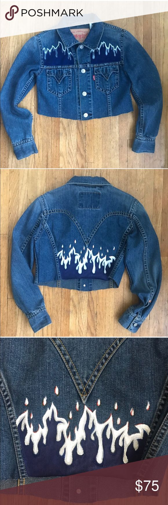 ❣️FLASH SALE Painted Levi's Denim Cropped Jacket Radddddd hand painted Levi's Denim jacket. ⭐️TAGS: urban outfitters zara free people topshop Anthropologie Madewell j.crew dolls kill nasty gal Isabel Marant wrangler lee Levi's Jackets & Coats