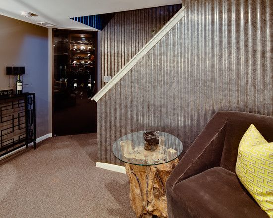 Use the metal siding on the bottom half of the garage...Basement Design, Pictures, Remodel, Decor and Ideas - page 56...