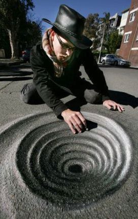 3D chalk street art by Rudy Kistler