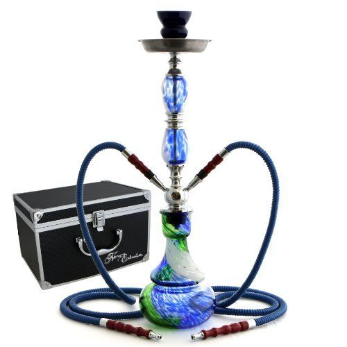 "NeverXhale 22"" 2 Hose Hookah Complete Set with Optional Carrying Case - Swirl Glass Vase - Choose Your Haze"