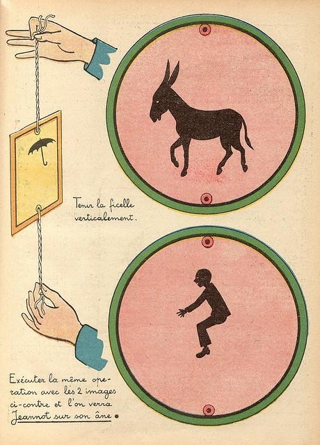 brinquedo ótico — traumatrópio — Inventado por Willian Fitton em 1825, O aparelho era um disco de papelão onde em um lado havia o desenho de uma gaiola e no outro o de um passarinho. Ao fazê-lo rodar sobre um fio esticado, as duas imagens fundiam-se dando a impressão de animação.