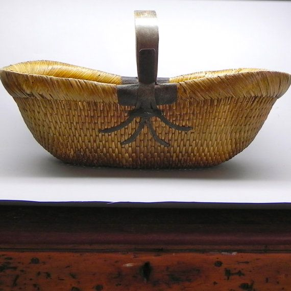How To Weave A Cane Basket : Antique basket woven cane rush by onprimroselane on etsy