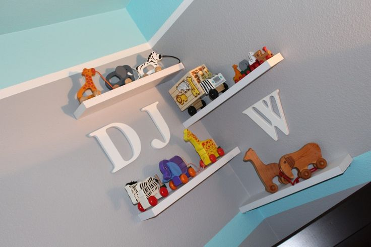 Love the layered shelves in the corner of the nursery!Boys Nurseries, Safari, Baby Boys, Projects Nurseries, Playgrounds Nurseries, Boys Room, Theme Nurseries, Nurseries Ideas, Baby Nurseries