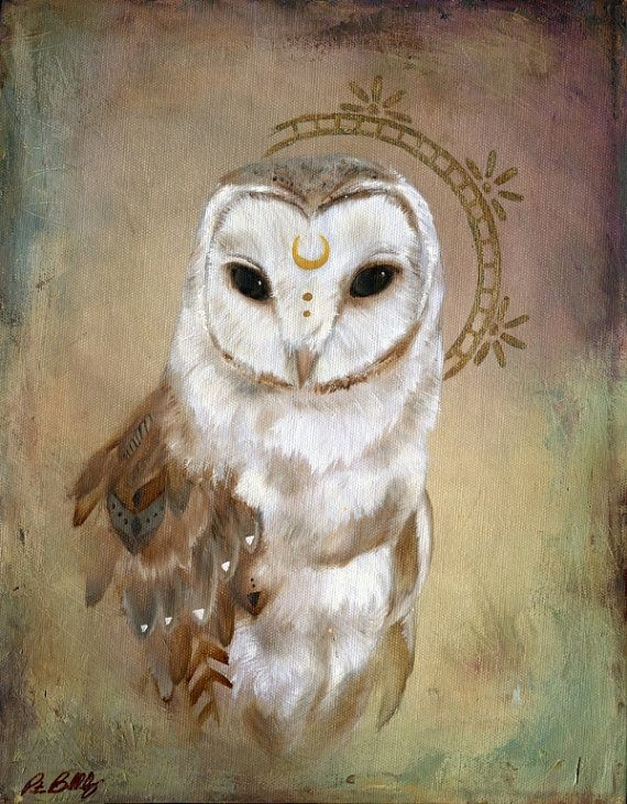 Original Oil Painting Celestial Owl by patriciabirkholz on Etsy, $138.00: