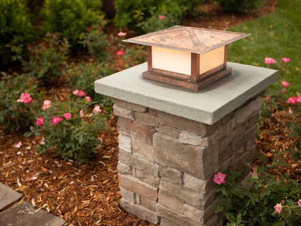 Best Driveway Lighting Ideas On Pinterest Solar Driveway - Brick column lit by flush mounted core drilled well light