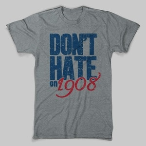 Well there have been 17 presidents, 6 American wars and 5 new states added to the nation since the Chicago Cubs won their last World Series. However, Cubs fans everywhere will never lose hope that one of these years will be our year yet again. Sport this Vintage Chicago Cubs Shirt the next time your at Wrigley to remind everyone (maybe even yourself) that someday, somehow, it's gonna happen! So, don't hate on 1908. Our Cubs t-shirts are hand-printed on super soft, ring-spun tees. For…