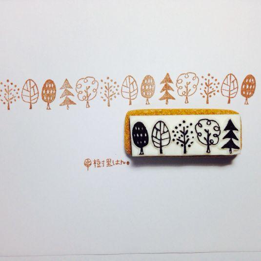 ハンドメイドマーケット minne(ミンネ)| 【再再再販】北欧風木のラインはんこ【B】