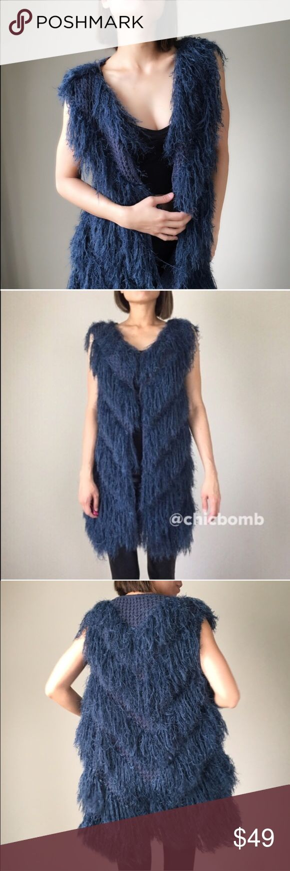"""Long faux fur Fringe shaggy outerwear. NEW YEAR Celebrate the NEW YEAR 2017 with this shaggy piece. Sleeveless Shaggy cardigan in dark BLU teal. FALL FASHION. 60% acrylic 20%nylon 20%polyblend. Size S - length:34"""", bust:34"""" w:34"""" Size M- LENGHT 34"""",bust:35"""",w:35. Size L: 35"""", b:36,w:36"""" . ❤️❤️❤❤️️👉🏼Follow me on  📸INSTAGRAM: @chic_bomb  and 💁🏻📘FACEBOOK: @thechicbomb❤️❤️❤️❤️ CHICBOMB BOUTIQUE Jackets & Coats Vests"""
