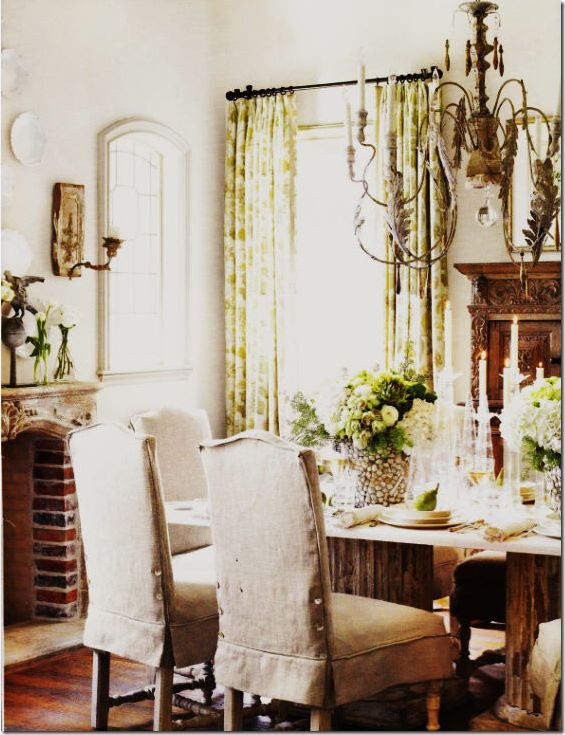 Another Example Of Slipcovered Dining Chairs