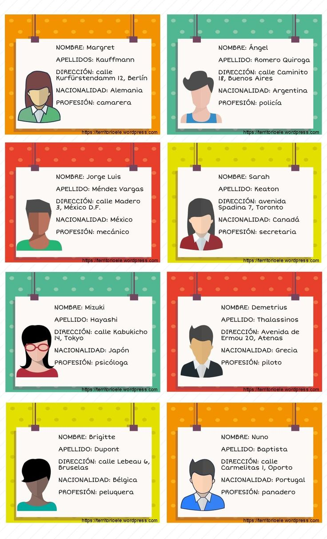 Fichas de identidad.