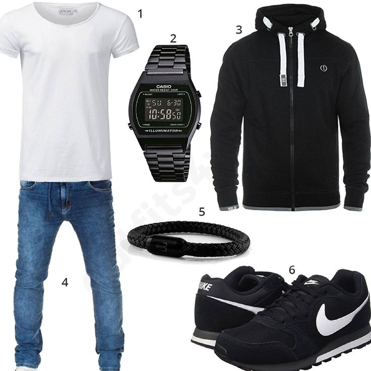 Herren-Style mit weißem Crone Shirt, Solid Hoodie, schwarzer Casio Uhr, Fischer's Fritze Armband, Nike Sneakern und Wotega Jeans.  #outfit #style #fashion #menswear #mensfashion #inspiration #shirts #weste #cloth #clothing #männermode #herrenmode #shirt #mode #styling #sneaker