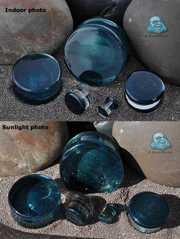 Double flare Indigo sparkle colorfront glass plugs