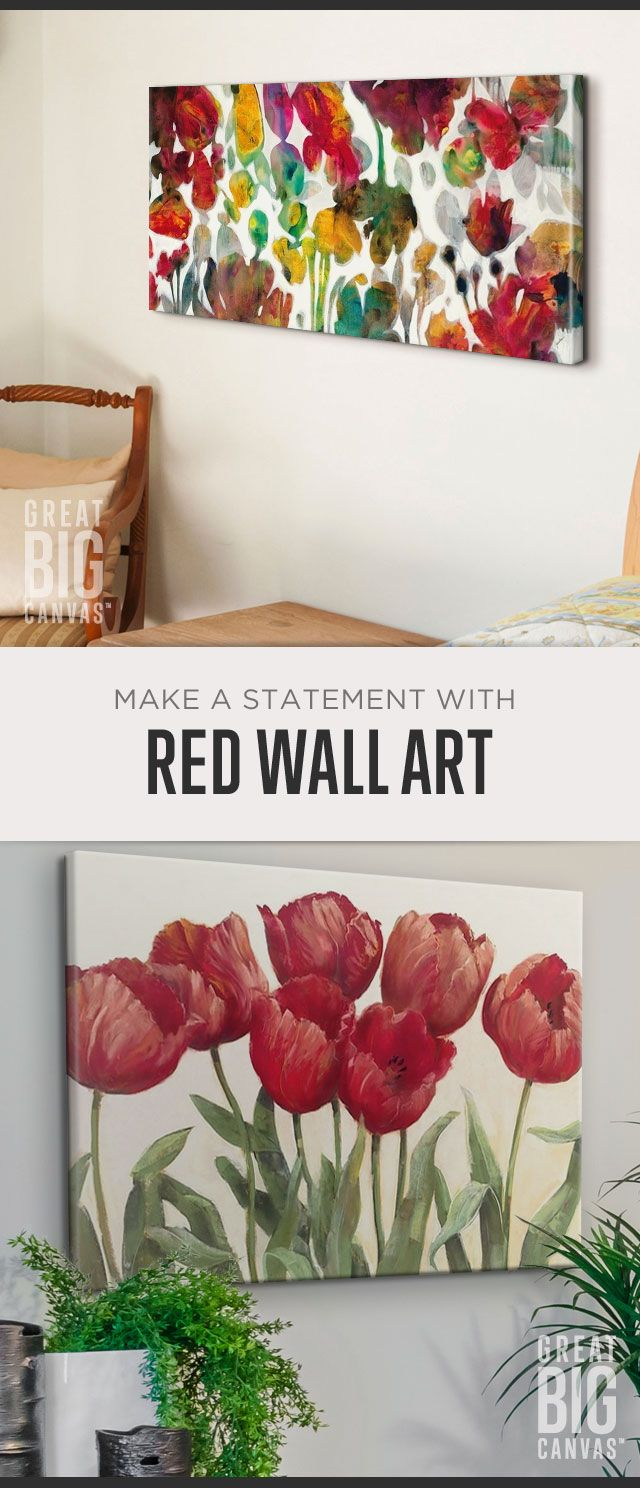 Brushes of red and details that pop. This is a hue that emits vibrancy, energy, passion. Make a statement that impacts with Red. Explore our collection of best selling red wall art at GreatBIGCanvas.com.