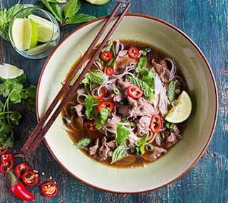 Exotic Meat Pho for Two: Pho, pronounced 'fuh,' is a popular Vietnamese main-course soup, often rich with beef. As this recipe shows, it could be also made with exotic meats, such as kangaroo or ostrich.