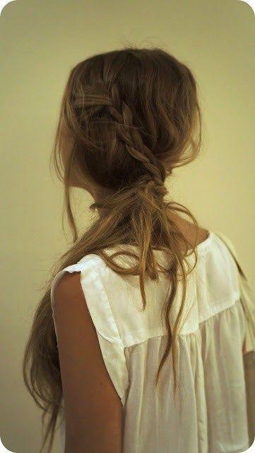 Messy braided ponytail.