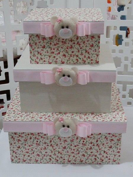 Trio de caixas com carinha de ursa