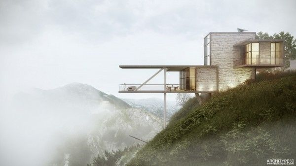 The foggy backdrop for this cantilevered house contrasts perfectly with its stone and wood frame. Hard and soft, sturdy and precarious, all captured in one image.