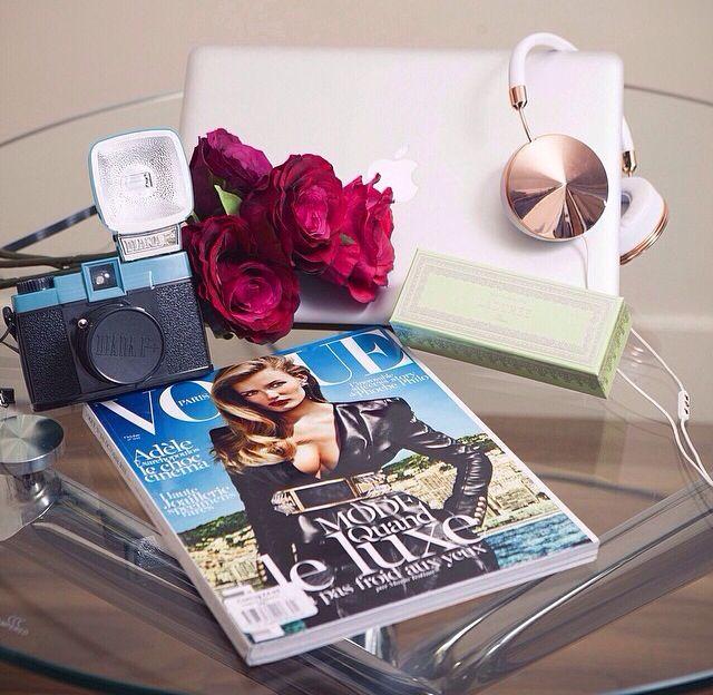 A few essentials for a day of blogging at home :) #HomeInteriors #HomeOffice #RoCkInFaShIoN #VogueMagazine #LadureeMacaroons #MacbookPro #Peonies #FrendsHeadphones #DianaCamera #Lomography #FashionBlogger #StreetStyle