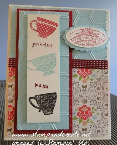 Tea Shoppe stamp set, with Pool Party cardstock, honeycomb & perfect polka dots embossing folders