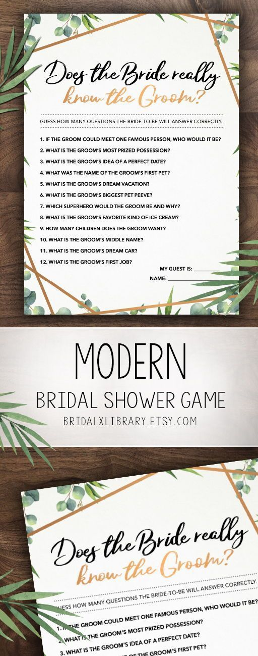 Does She Know Him, Bridal Shower Games Printables, Bridal Shower Game, Bridal Shower Instant Download, Wedding Game, Greenery Themed Game