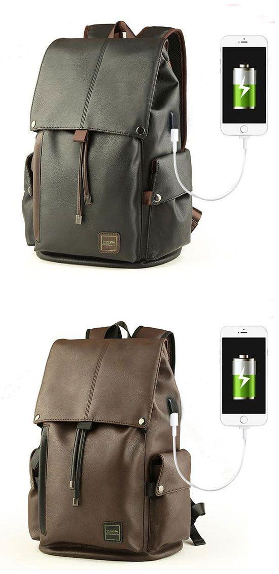 Cool Men's PU Leather Draw String Large School Bag USB Interface Capacity Flap Hiking Backpack for big sale ! #bag #large #school #college #travel #backpack #rucksack