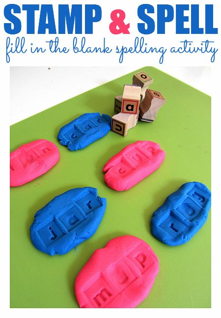 use letter stamps and playdough to word on creating words and spelling.