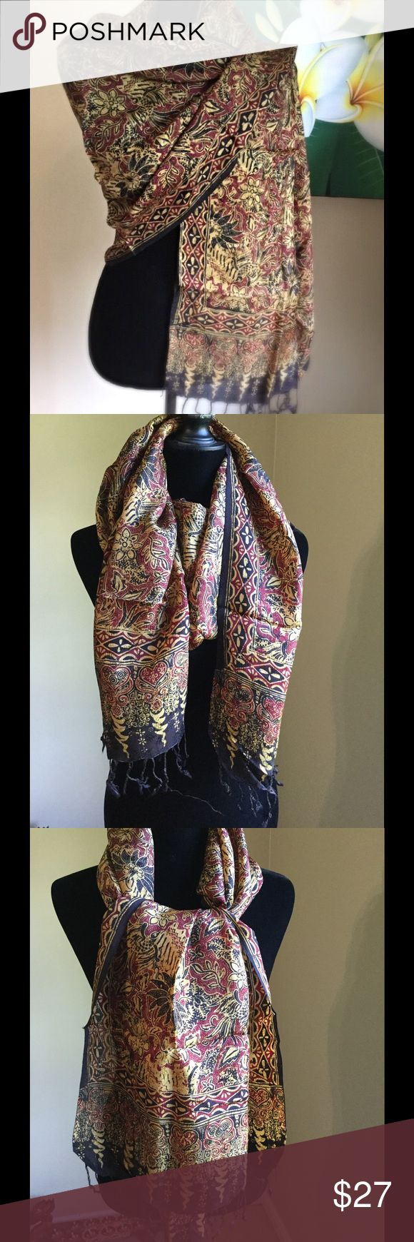 Batik scarf/shawl Indonesian stamped batik pattern scarf/shawl. Material viscose. It's light, and breathable material. Accessories Scarves & Wraps