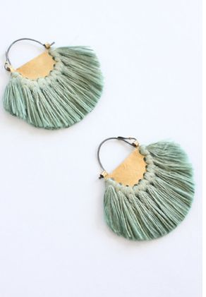 DIY inspiration: thin metal disk, cut in half and hole punch along edge. Tie thread into tassels. Trim. Attach to earring backing, or necklace chain.