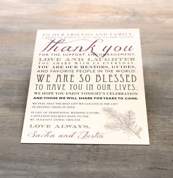 Moss Tree Rustic Thank You Card For Reception Table By Beaconlane 1 25