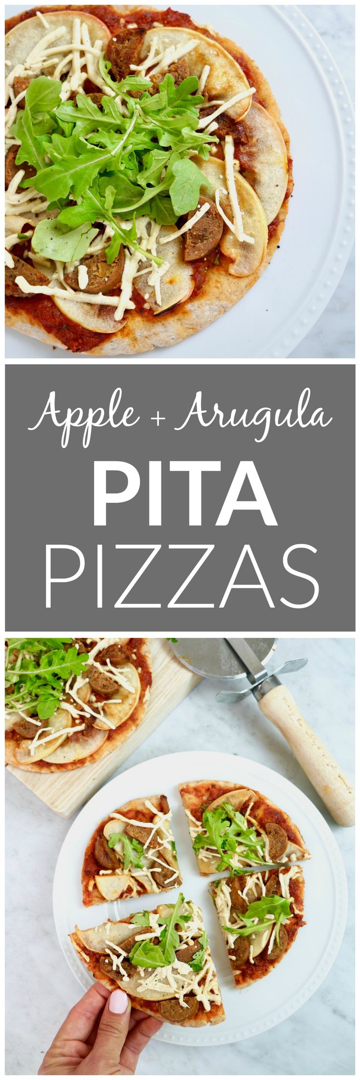 Apple + Arugula Pita Pizzas - vegan, healthy. This quick and easy dinner recipes features fall flavors including sautéed apples and vegan apple sausage. This plant-based pita pizza is the perfect dinner for busy nights!