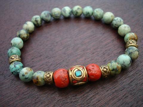 Tibetan Coral Mala Bracelet