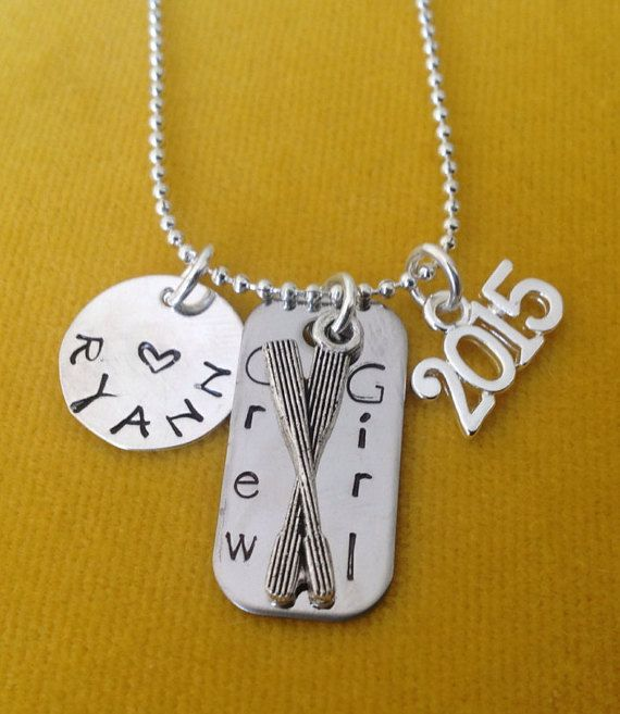Crew Girl Custom Necklace Crew Team Rowing Oars Regatta by tagsoup