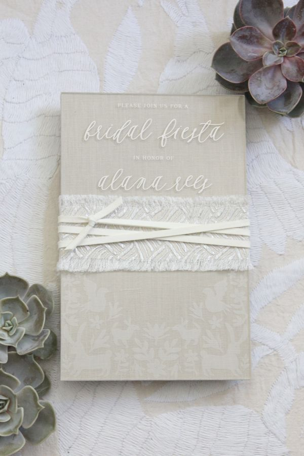 box wedding invitations online%0A Alana u    s Otomi Foil   Acrylic Bridal Shower Invitations