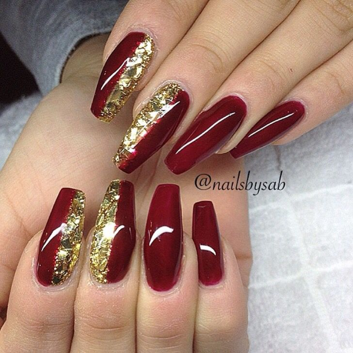 Acrylic Nail Designs Red And Gold: Red and gold acrylic nail designs ...