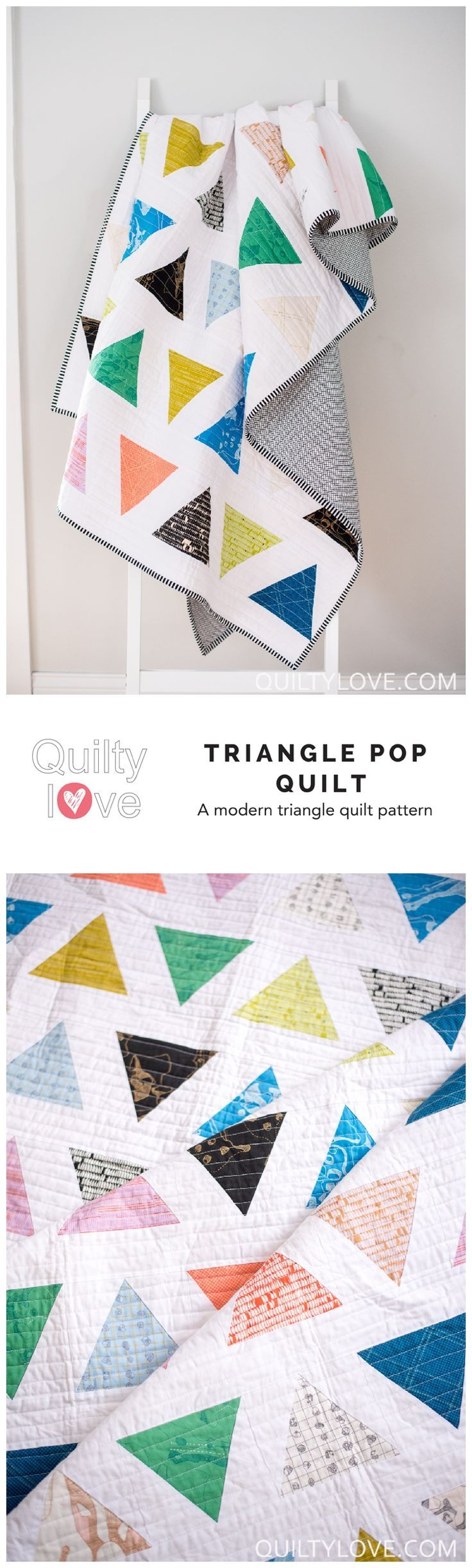 Triangle Pop quilt pattern by Emily of Quiltylove.com.  Modern triangle quilt.  Easy quilt pattern. #quilting #quiltylove