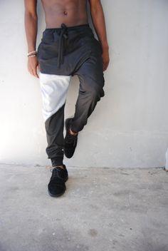 Mens Black Denim Drop Crotch Harem Pants / Denim Joggers / Mens Joggers / Mens Harem Pants / Three Pockets / Handmade by GAG THREADS