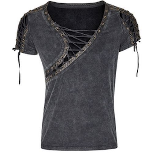 Retro Vintage Black Short Sleeve Gothic Steam Punk Fashion Top for Men SKU-11409456