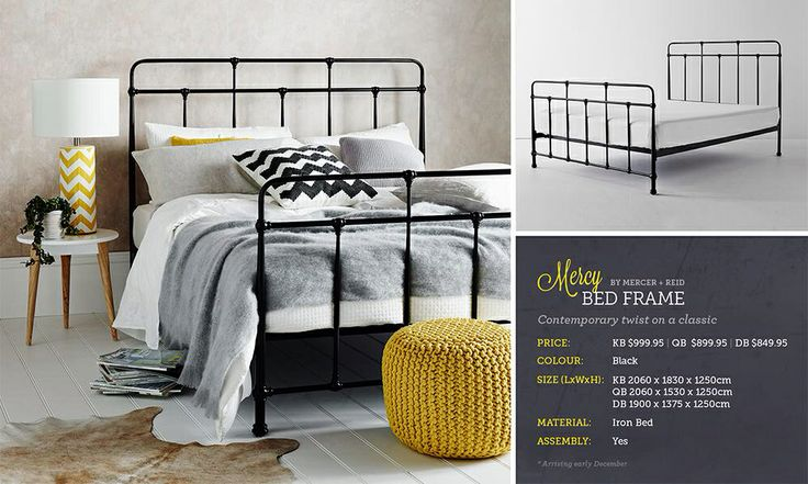 Industrial styled bed frame, love the look, but from experience not as sturdy as timber framed beds......still it would look fabulous in my spare room......