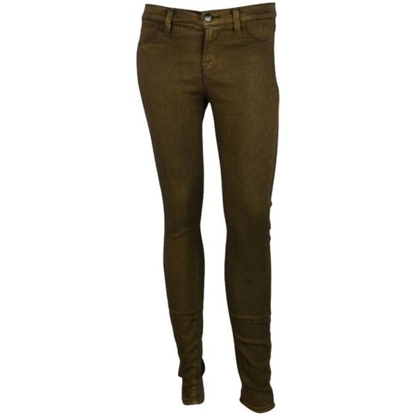 Pre-owned J Womens Gold Nebula Super Skinny Mid-rise Stretch Jeans ($68) ❤ liked on Polyvore