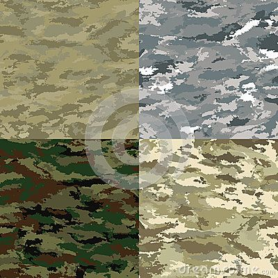 Khaki camouflage backgrounds -  illustration. Set of colored backgrounds.