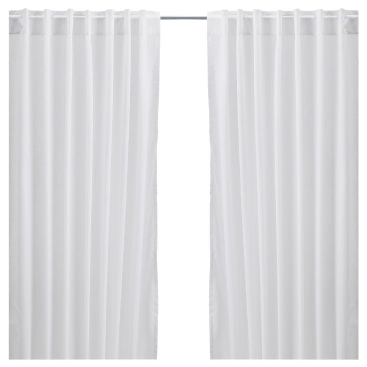 "VIVAN Curtains, 1 pair - white, 57x98 ½ "" - IKEA $10  Cheapest pair of floor-to-ceiling panels around. Can be used in a studio space to define a room or provide privacy.  Still allows light through, can add liner for light blocking."
