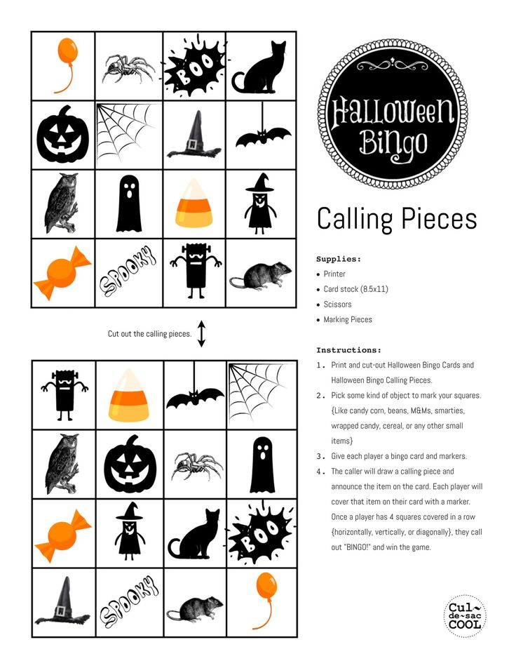 Halloween Bingo Calling Pieces